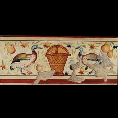 Fresco with birds and basket