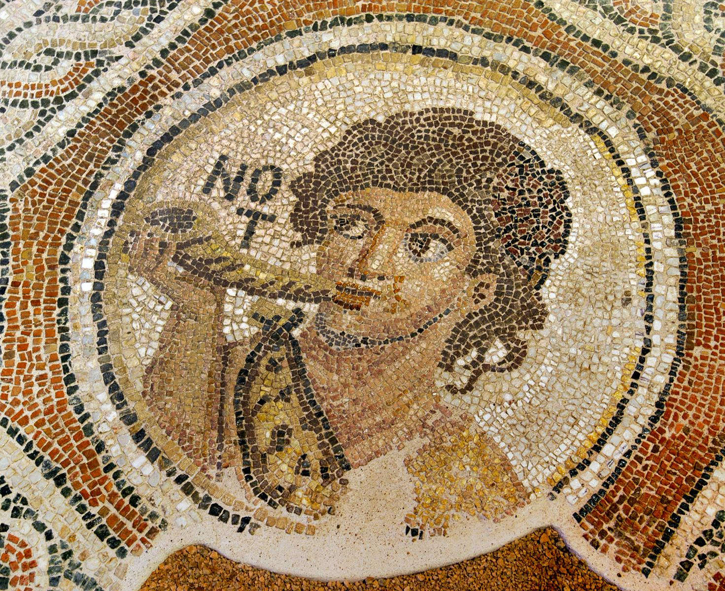 Detail of a mosaic floor with the south wind
