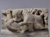 An extremely rare zoomorphic frieze from the church of St Menas, dated 5th-6th c. It consists of fourteen relief plaques with animals and birds, separated by acanthus leaves. It impresses with its realism and rendering of motion.