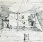 Sketch of the Museum's reception hall by the architect K. Krokos