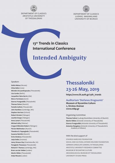 13th Trends in Classics Conference  Subject:Intended Ambiguity
