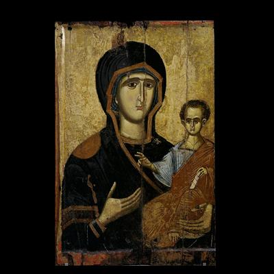 Two-sided icon with Virgin and Saint Barbara