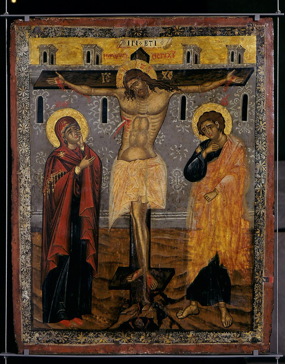 Double-sided icon: Virgin Mary Glykofylousa and the Crucifixion of Christ