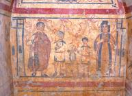 Barrel-vaulted tomb with scenes of funerary customs of the Flavios Eustorgios family, who venerate their deceased ancestors, mid 4th c.