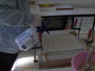 Construction of a portable support of a mural painting.